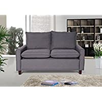 US Pride Furniture Blaire Fabric Modern Loveseat, Dark Grey
