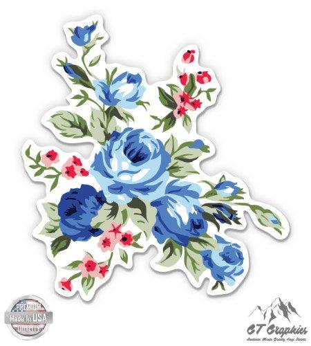 GT Graphics Vintage Blue Flowers Floral Design - Vinyl Sticker Waterproof Decal