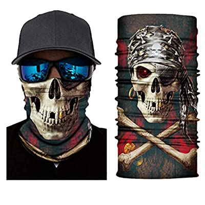 Swesy 4 Pack Outdoor Face Mask Multifunctional UV Protection Headwear Scarf for Men&Women Motorcycling Hiking Cycling Skiing Snowboarding (Skull): Clothing