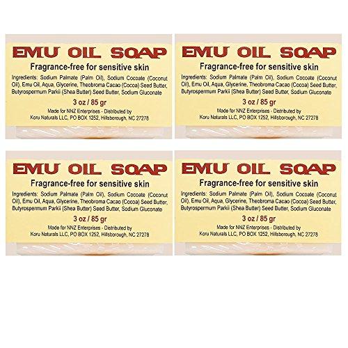 Emu Oil Soap Natural for Sensitive Skin No Artificial Fragrance Set of 4 3 oz bars