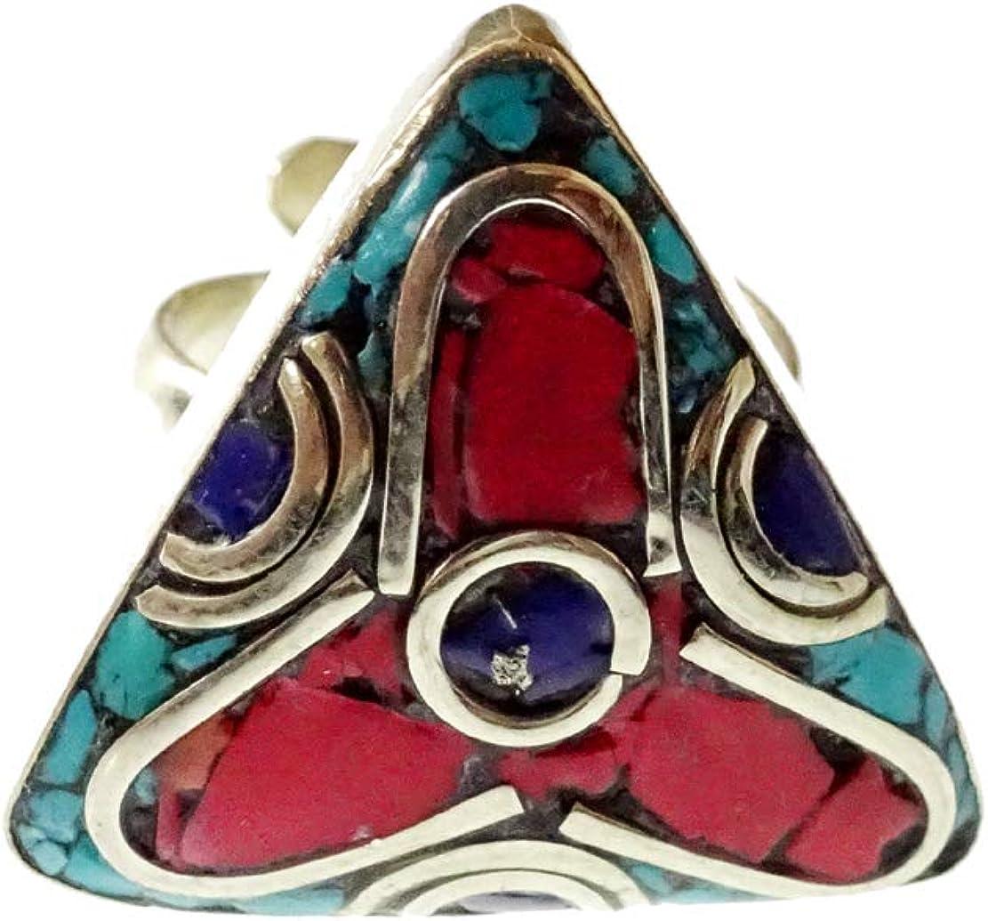 Anello regolabile en argento fatto a mano per donne Ragazza Uomini Pietra preziosa Corallo Turchese Lapis-Lazuli Anello Etnico Tribal Estile Unico Diseño Boho tibetano hippie Osidizado Anelli Gioielli