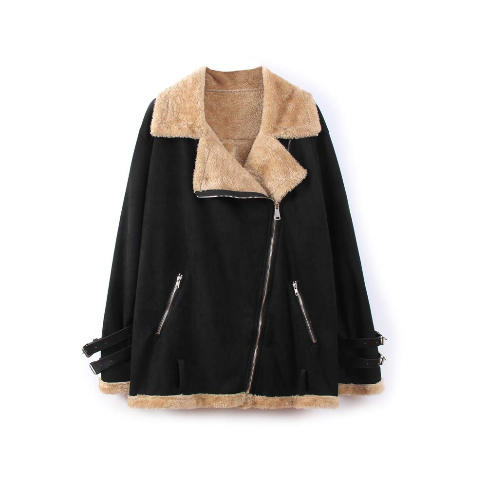 Black Ultrafun Women Faux Suede Moto Jacket Casual Lapel Fleece Shearling Outwear Coat