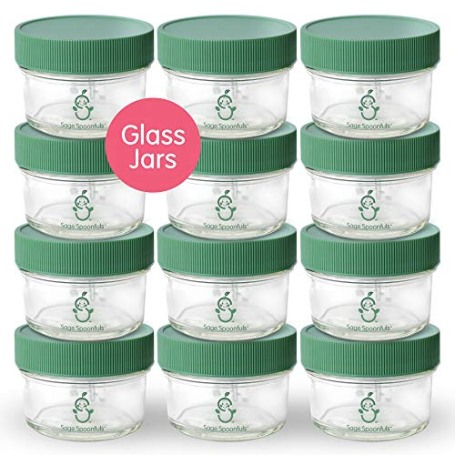 Glass Baby Food Storage Containers | Set of 12 | 4oz Glass Baby Food Jars with Lids | Freezer Storage | Reusable Small Glass Baby Food Containers | Microwave & Dishwasher Safe | for Babies & Infants