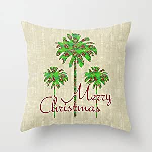 GraebnerSaleStore 18X 18inch Pastoral Style Cotton Linen Decorative Throw Pillow Cover Cushion Case Christmas Palm H:588