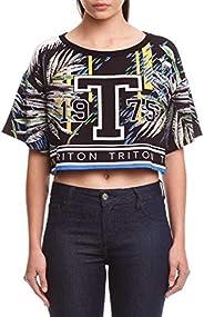 Camiseta Cropped Estampada, Triton, Feminino