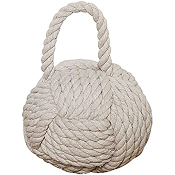 Creative Co-Op Nautical Rope Knot Cotton Door Stop, Ivory
