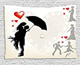 Ambesonne Wedding Decorations Tapestry, Couple in Love Umbrella Red Hearts Daisies Romance in the Air, Wall Hanging for Bedroom Living Room Dorm, 60 W X 40 L Inches, Black White Red