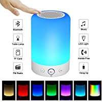 Portable Bluetooth Speakers V4.0 Wireless Speakers Stereo Subwoofer Smart Touch Speakers Color Changing … (Small)