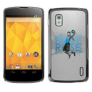 Be Good Phone Accessory // Dura Cáscara cubierta Protectora Caso Carcasa Funda de Protección para LG Google Nexus 4 E960 // Rookie Of the Year Basketball