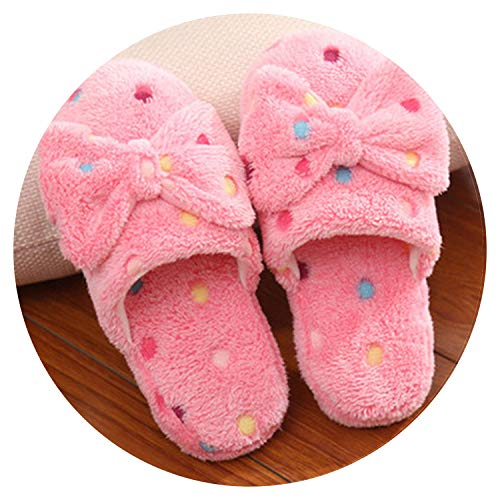 Bow Cotton Slippers ms Lovely Winter Warm Cotton mop Antiskid Indoor Floor Wool Slippers at Home,Pink,6 ()