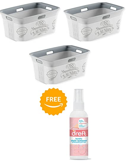 Laundry a Never Ending Cycle Pack of 3 Plastic Laundry Basket in Grey With Free Laundry