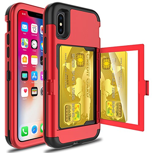 iPhone X Case, Zenic 3 in 1 Protective Wallet Case with Card Slot Holder and Hidden Back Mirror Shockproof Case with Kickstand for iPhone X (Red/Black)