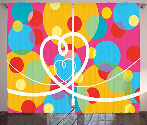 Ambesonne Groovy Decorations Collection, Pop Dots Different Sized Circles and Loopy Hearts Colorful Fun Retro Art, Living Room Bedroom Curtain 2 Panels Set, 108 X 84 Inches, Yellow Red Blue Pink