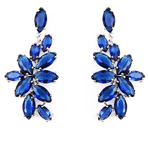 FC JORY Cubic Zirconia Marquis-Cut Curved Cluster Blue Bridal Wedding Drop Earrings