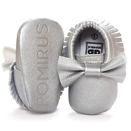 bescita Baby Krippe Quasten Bowknot Schuhe Sneakers Casual Rutschfeste Schuhe (12, Silber)