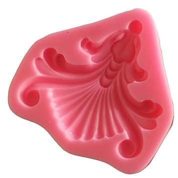 Diy Fan Rose Patrón Fondant Molde de Silicona Pastel de Chocolate para Hornear Mold8.3X8.5X1cm: Amazon.es: Hogar