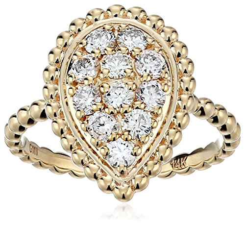 14k Yellow Diamond Leaf Ring 3 4cttw, H-I Color, I1 Clarity , Size 7