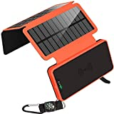 soyond Solar Qi Power Bank Solar Wireless Phone Charger Protable Qi Battery Pack 20000mAh Waterproof with Dual Ports for iPhone, Andriod Phone, iPad(Orange Wireless Charger)