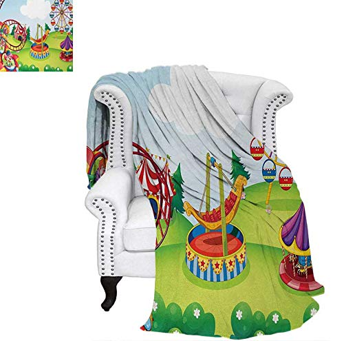 Digital Printing Blanket Circus and Theme Park Design Carousel Amusement Excitement Trees Summer Quilt Comforter 62