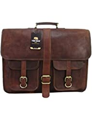 Yuge Bear 18 B2P Mens Vintage Style Genuine Leather Laptop Bag Briefcase