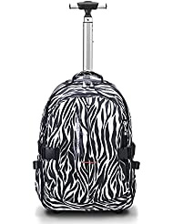 19 inches Multifunction Waterproof Wheeled Rolling Backpack for Girls and Boys School Books Bag by HollyHOME