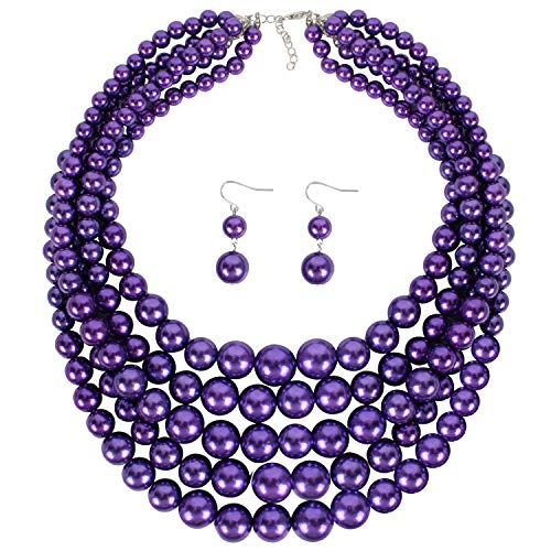 LuckyHouse 5 Layer Faux Strands Pearl Necklace Jewelry Sets Purple for Women Girls 18 inch Necklace and Earrings Set