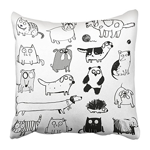 Emvency Decorative Throw Pillow Covers Cases Sketch Funny Dogs Cat Animals Panda Hedgehog Doodle Line Cute Simple Tiny Pet Nose 16x16 inches Pillowcases Case Cover Cushion Two Sided
