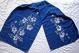 Violets on silk scarf Handpainted silk scarf Floral silk scarf Large silk Shawl dark blue Wedding Gift Blue Pansies Batik Silk Art