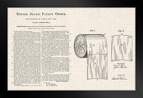 Toilet Paper Roll Official Patent Diagram Black Wood Framed Poster 14×20