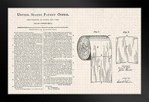 Toilet Paper Roll Official Patent Diagram Framed Poster 14x20 -