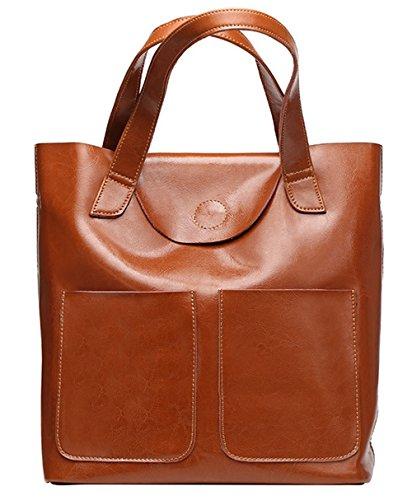 Xinmaoyuan Mujer bolsos de cuero Bolsos Bolsa Kraft cera aceite único bolso de hombro Brown