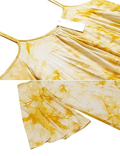 Le Colorant Cravate Des Femmes Naggoo Épaule Froid Tête Tunique Sangle Spaghetti Shirt Loose Jaune
