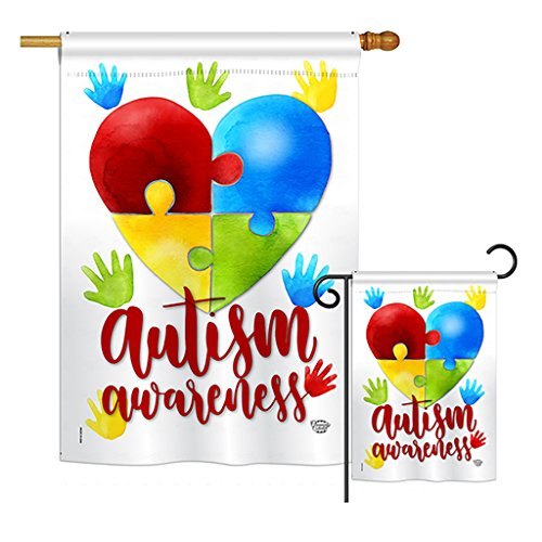 Cheap Ornament Collection S192063-BO Autism Awareness Inspirational Support Impressions Decorative Vertical House 28″ X 40″ Garden 13″ X 18.5″ Double Sided Flags Set Printed in USA Multi-Color