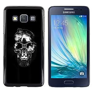 MobileHut / Samsung Galaxy A3 SM-A300 / Crystal Skull Black Silver Death Metal / Delgado Negro Plástico caso cubierta Shell Armor Funda Case Cover