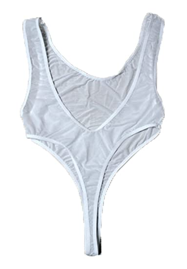 38ef973eff LinvMe Women s Sexy See Through High Cut Bodysuit Thong Leotard Sleeveless  Lingerie White at Amazon Women s Clothing store