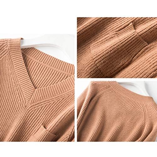 Il S Camel Sopra Lunga Manica Collo In Cashmere L Donna V Caldo color A Size E Taglia Felicigg Con Camel Ginocchio Da Maglia 3xl AgT46T