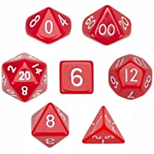 7 Die Polyhedral Dice Set - Solid Red with Velvet Pouch By Wiz Dice by Wiz Dice
