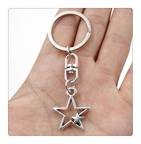 Silver Color Metal Key Chains Accessory, Vintage hollow star Key Rings (Star Keychain)