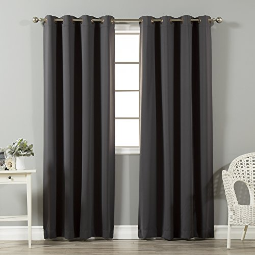Best Home Fashion Thermal Insulated Blackout Curtains - Antique Bronze Grommet Top - Dark Grey - 52