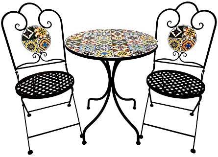 3 Piece Outdoor Bistro Set, Premium Steel Patio Table and Chair Bistro Set