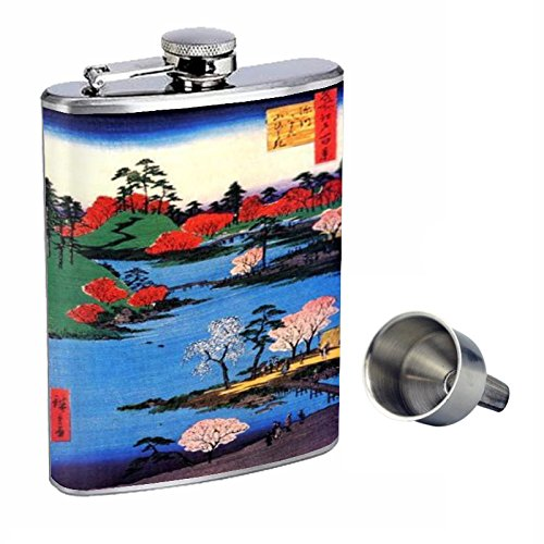 信頼 Japanese Woodblock川に沿ってPerfection inスタイル8オンスステンレススチールWhiskey Japanese Flask with with d-061 Free Funnel d-061 B015QLEZDU, ゴルフパートナー:7bb991c3 --- beutycity.com