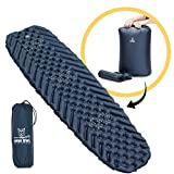 Wise Owl Outfitters Camping Sleeping Pad - Premium Inflatable Camping Pad for Outdoor and Backpacking - Ultralight Compressible Camping Mat - Bubble Gear Design with Air Inflator Pump Included (Blue)