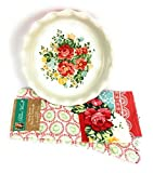 "Pioneer Woman - 9"" Pie Baking Dish with a Red Base and Kitchen Towels In the ""Vintage Floral Geo "" Pattern Bundled As A Set"