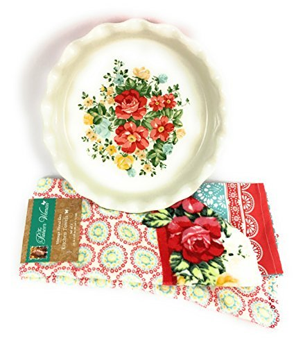 Pioneer Woman - 9'' Pie Baking Dish with a Red Base and Kitchen Towels In the ''Vintage Floral Geo '' Pattern Bundled As A Set
