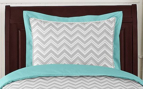 Sweet Jojo Designs 5-Piece Turquoise and Gray Chevron Zig Zag Toddler Bedding Girl or Boy Set