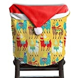 Llama Animal Christmas Chair Covers Classic Strong Santa Hat Chair Covers For Adult Chair Back Covers Holiday Festive