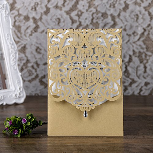 PONATIA 25PCS Lacer Cut Invitations Cards with Rhinestone Hollow Flora Favors For Wedding Bridal Shower Invitation Baby Shower Engagement Birthday Invitation Graduation (Gold) (Rhinestone Invitations Wedding)