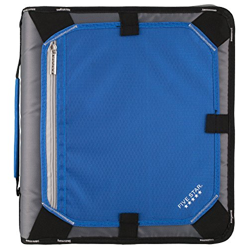- Five Star 2 Inch Zipper Binder, 3 Ring Binder, Expansion Panel, Durable, Blue/Black (29052BC7)