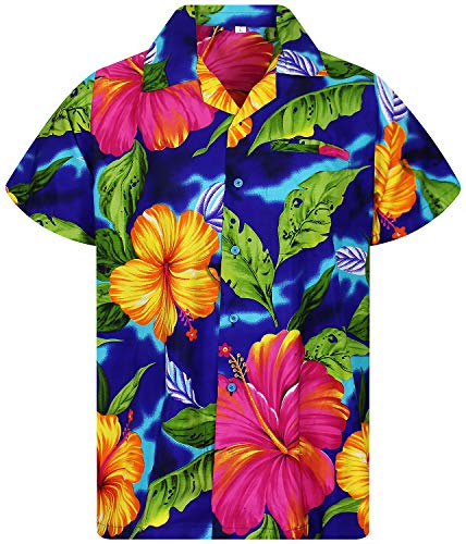 Funky Hawaiian Shirt, BigFlower, blue, 3XL]()