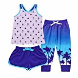 Saint Eve Kids' Girls 3-Piece Summer Pajama Set - Tank, Tee & Shorts (Purple Tropical, Large 14)